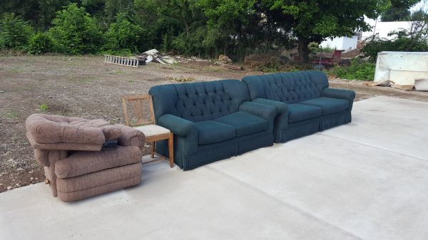 donated recliner, vintage chair, couch & love seat set