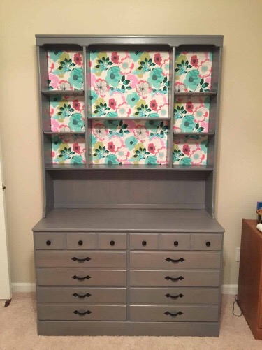 painted and decorated cabinet and hutch