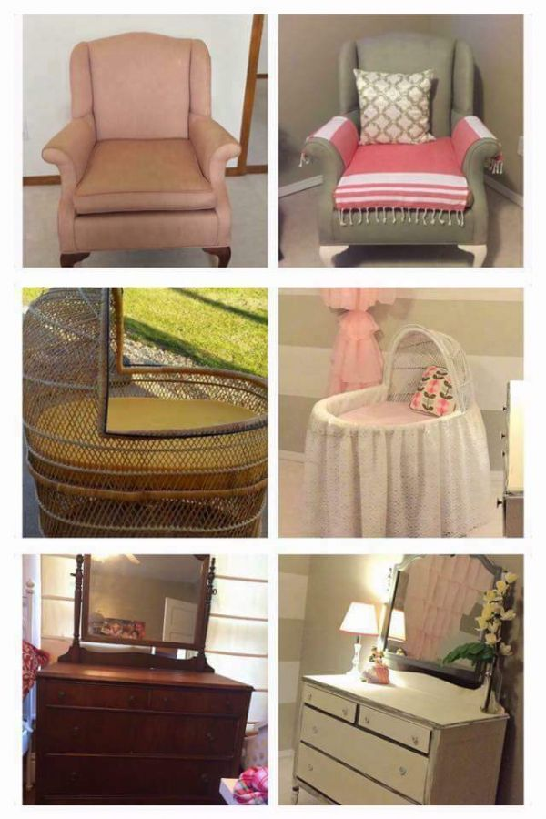 collage of chair, baby carriage, and vanity dresser before & after